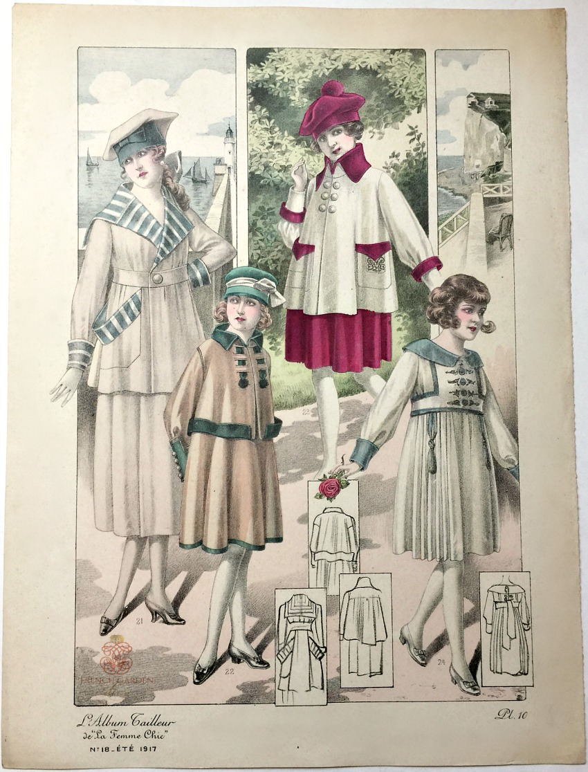 Antique French Hand Colored Fashion Print Lithograph Summer