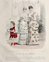 Antique French Hand Colored Fashion Print Lithograph Grand Ball