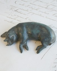Vintage Patina Bronzed French Country Style Pig Paper Weight