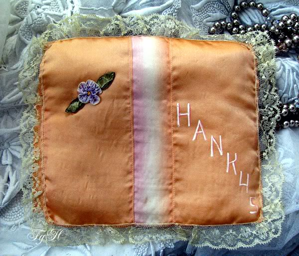 Antique Silk Ribbon Hanky Case Ribbon Work Flower & Lace