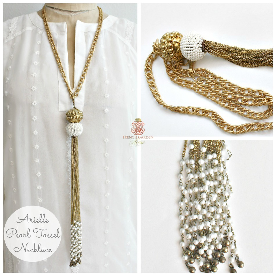 Arielle Gold and Pearl Tassel Necklace