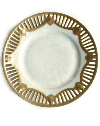 Antique Pearlized Star Center Gilt Cake Plate Set of 8