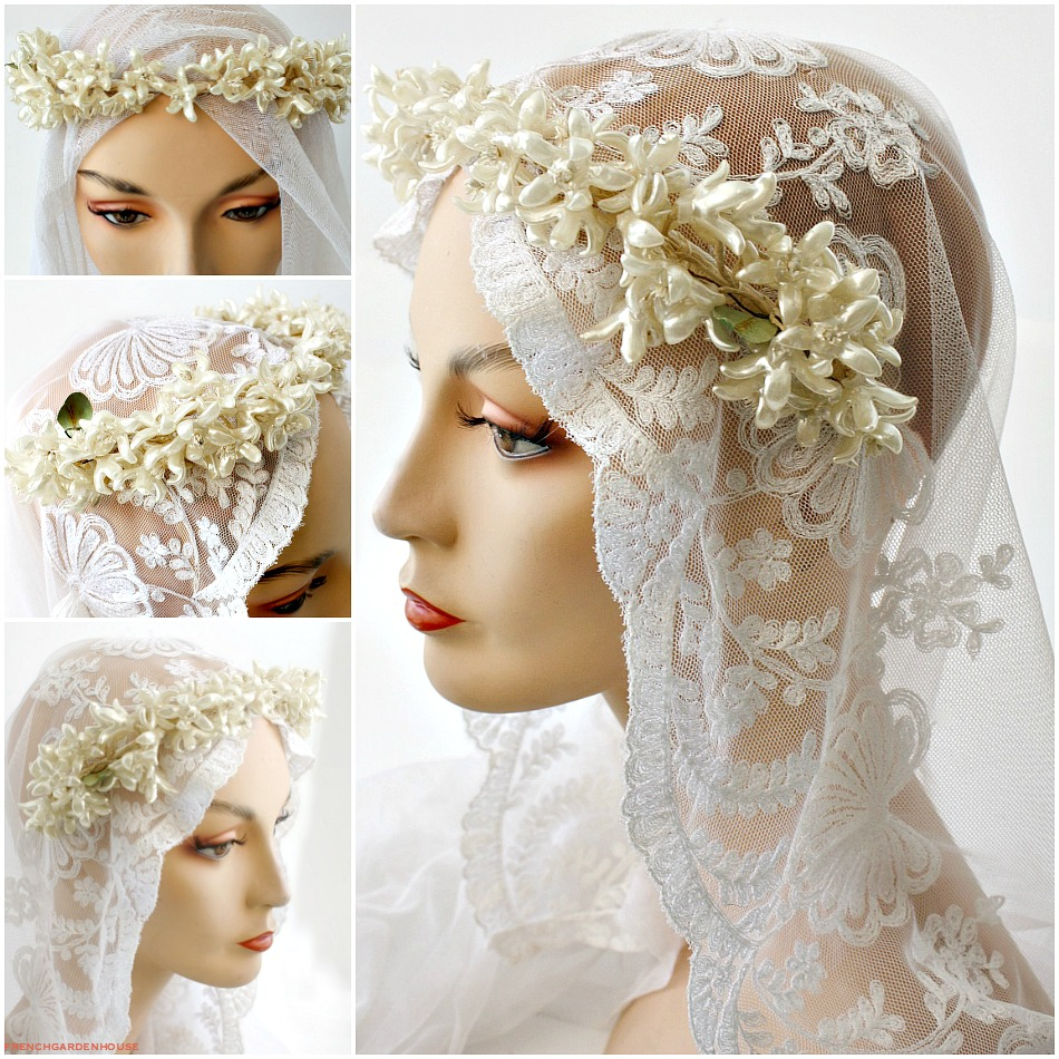 French Wax Flower Wedding Tiara Orange Blossoms