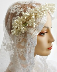 French Wax Flower Wedding Tiara Orange Blossoms