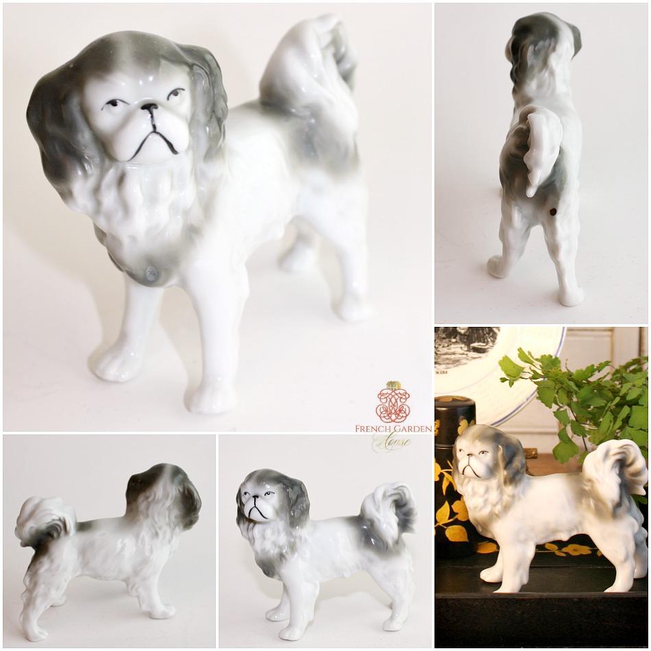 Vintage Miniature Pekingese Porcelain Dog Figure