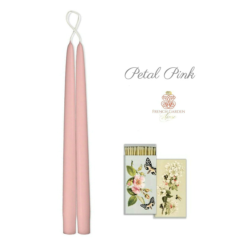 Hand Dipped Petal Pink Taper Candles Gift Set