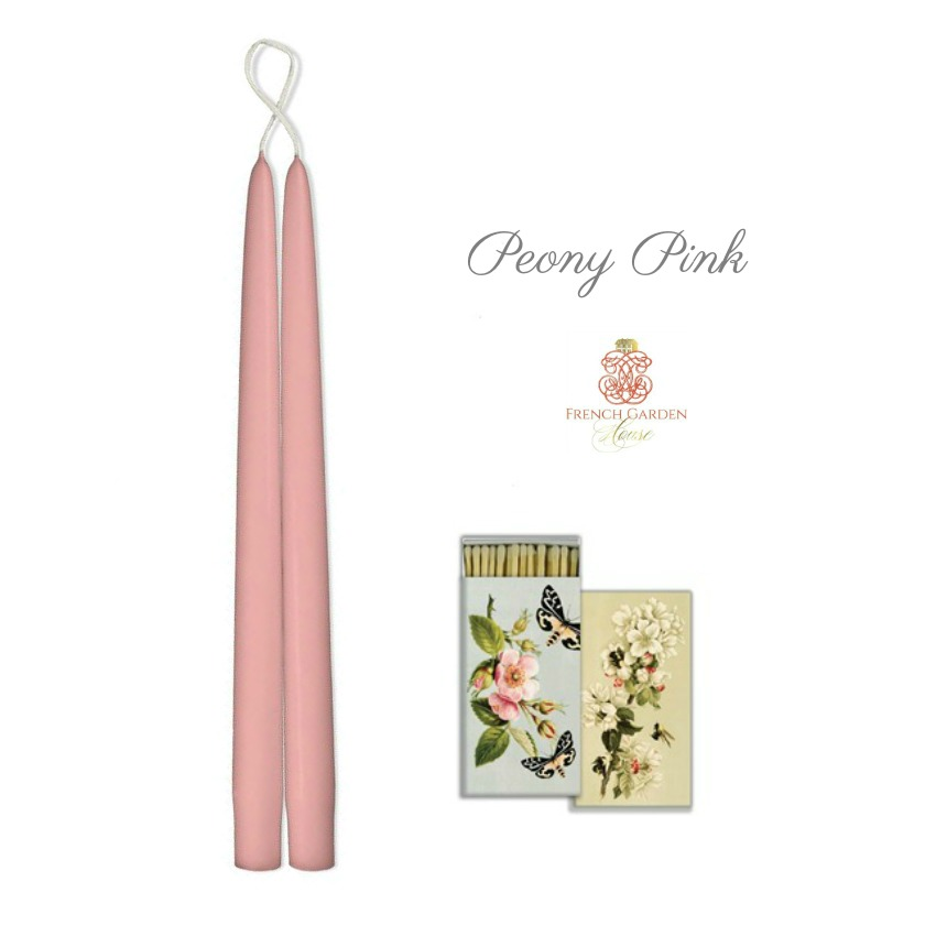 Hand Dipped Taper Candles Pink Peony Gift Set