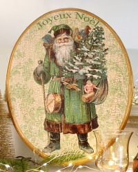 Limited Edition French Pere Noel Green Plaque