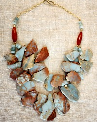 Natural Peruvian Opals and Carnelian Statement Necklace