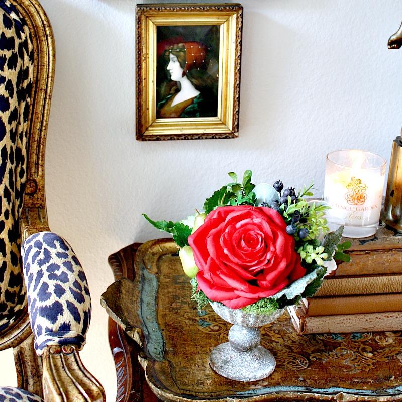 Gratitude Red Rose and Hydrangea Winter Arrangement