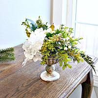 Blanc Rose and Hydrangea Winter Holiday Arrangement