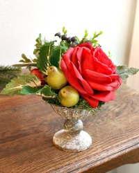 Gratitude Red Rose and Hydrangea Winter Arrangement