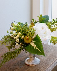 Blanc Rose and Hydrangea Winter Holiday Arrangement