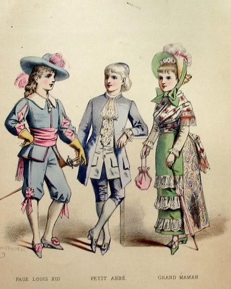 Antique French Hand Colored Children's Fashion Print