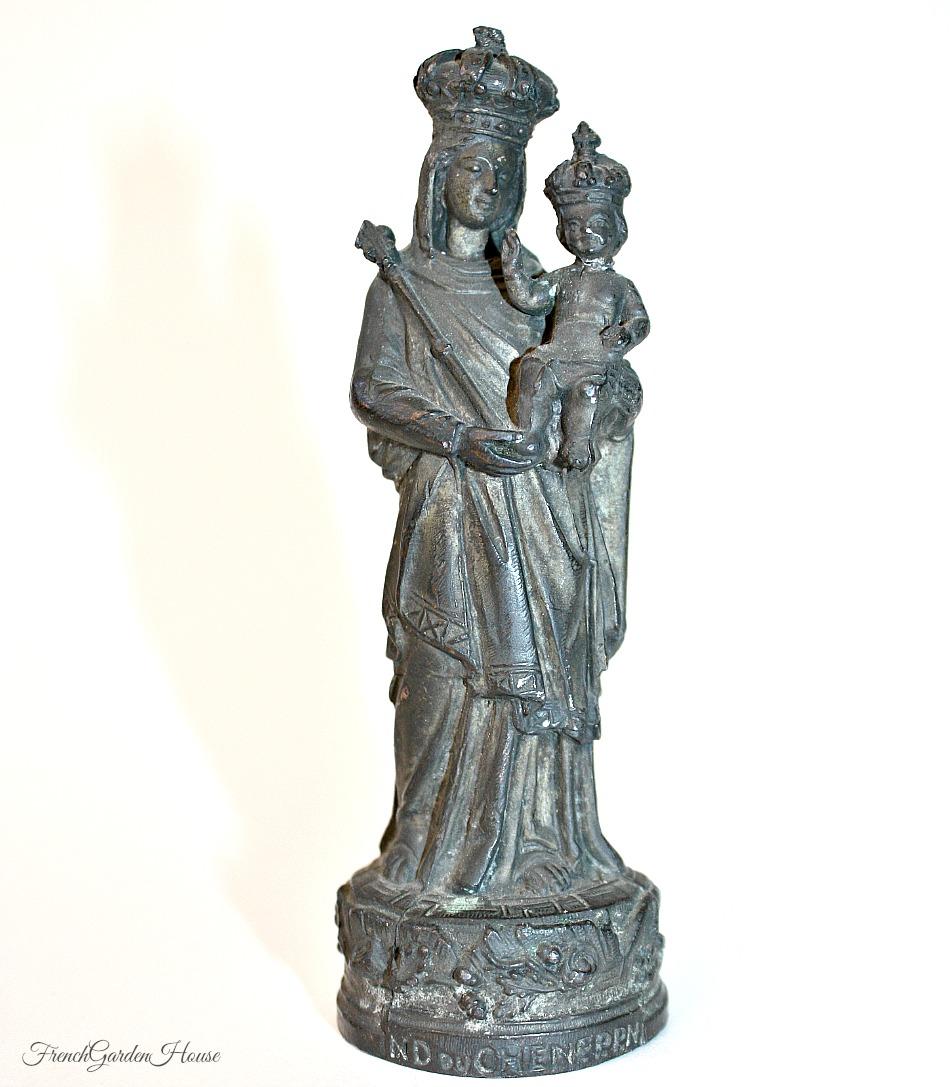 Antique French Metal Madonna & Child Figure Crown du Chene