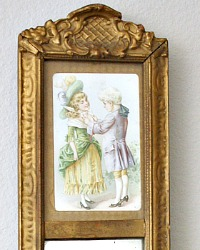 Antique Shabby French Petite Trumeau Mirror