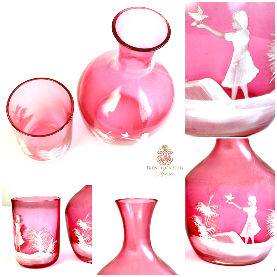 Cranberry Glass Mary Gregory Enameled Carafe and Tumbler Set