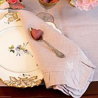 European Faded Pink Rose Linen Ruffle Napkin Set 4