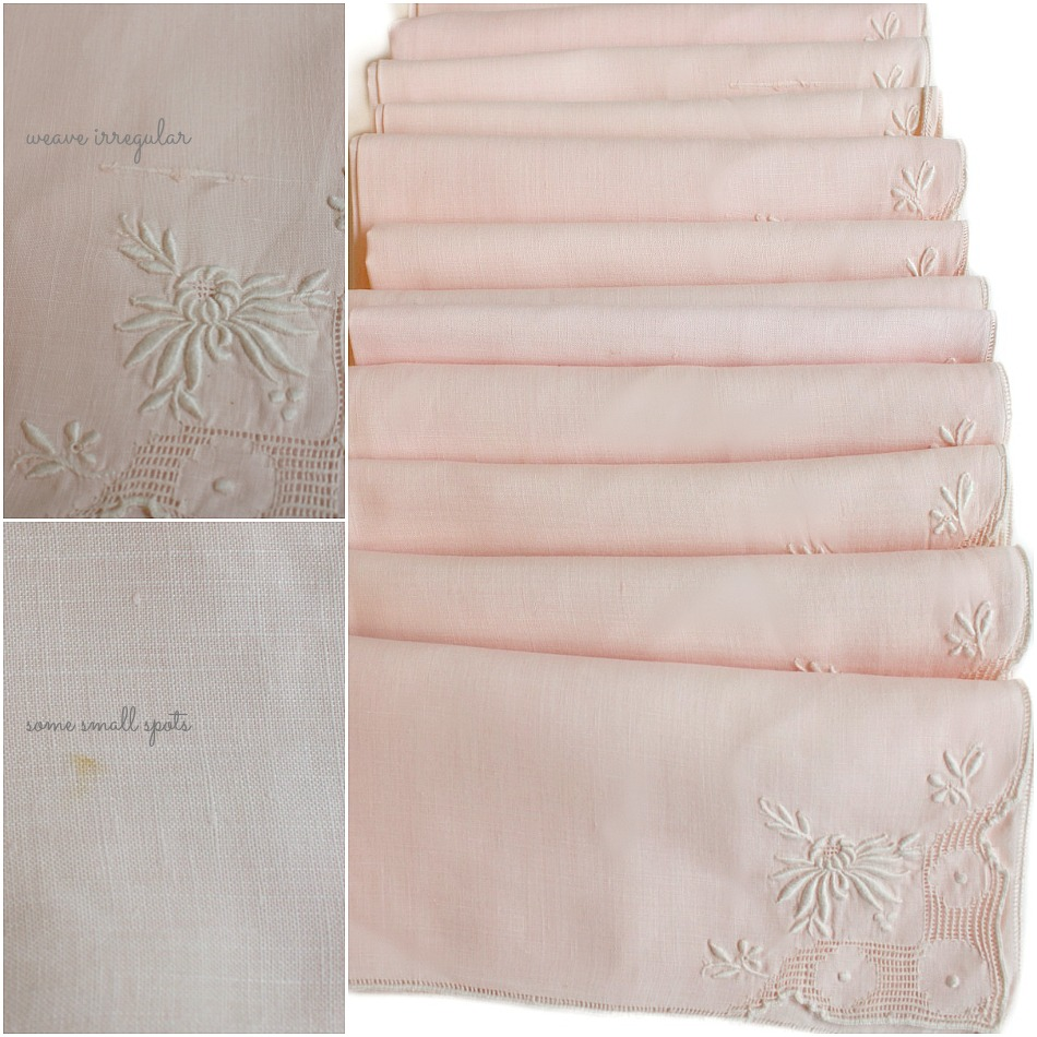 Vintage Estate Set of 12 Pink Linen Embroidery Napkins