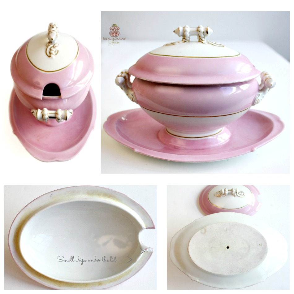 Antique French Porcelain White and Pink Serving Tureen