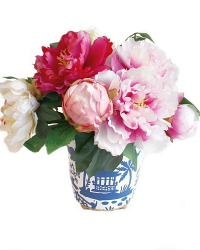 Spectacular Peonies in Hand Painted Chinoiserie Tole Arrangement