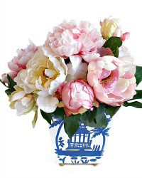 Exquisite Peonies in Hand Painted Chinoiserie Tole Arrangement