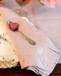European Faded Pink Rose Linen Ruffle Napkin Set 4 Last Available!