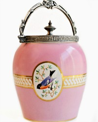 Antique Pink Biscuit Jar with Hand Painted Birds