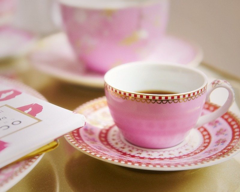 Pink Ribbon Rose Espresso Cup Set of 4