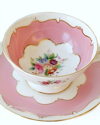 Coalport Fine Quality Pink Hand Painted Tea Cup