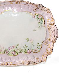 Antique French Hand Painted Porcelain Pink Gilt Floral Tray