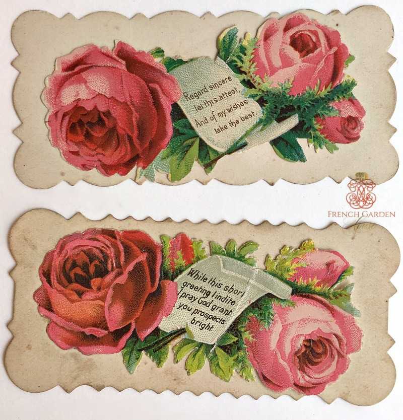 Antique Victorian Paper Hidden Name Roses Calling Card Set of 2