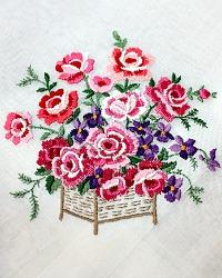 Vintage Swiss Sheer Linen Hand Embroidered Pink Rose Handkerchief