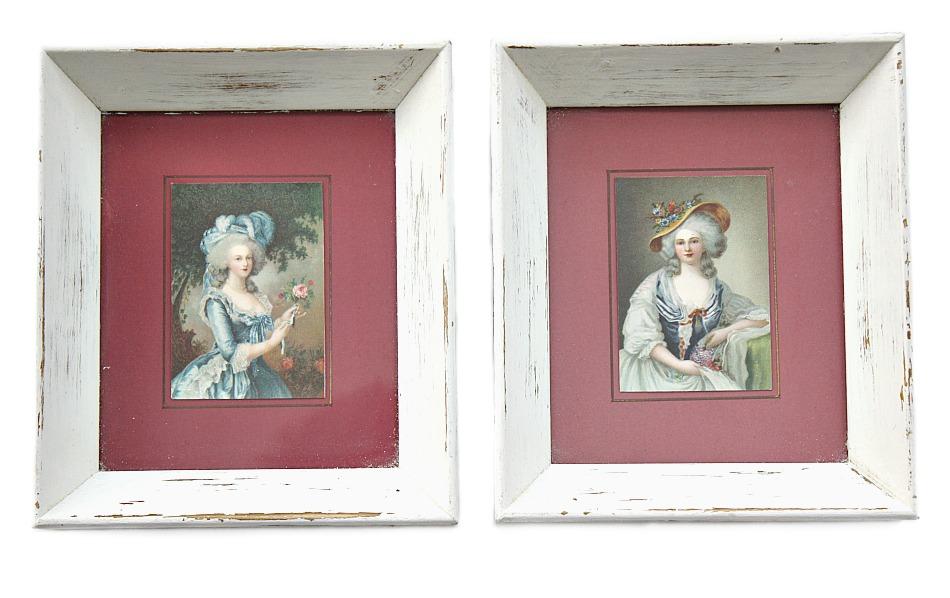 Vintage Shabby Chromolithograph French Portrait Ladies Print Set of 2