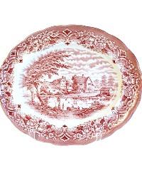 Vintage English Red Transfer Village Platter