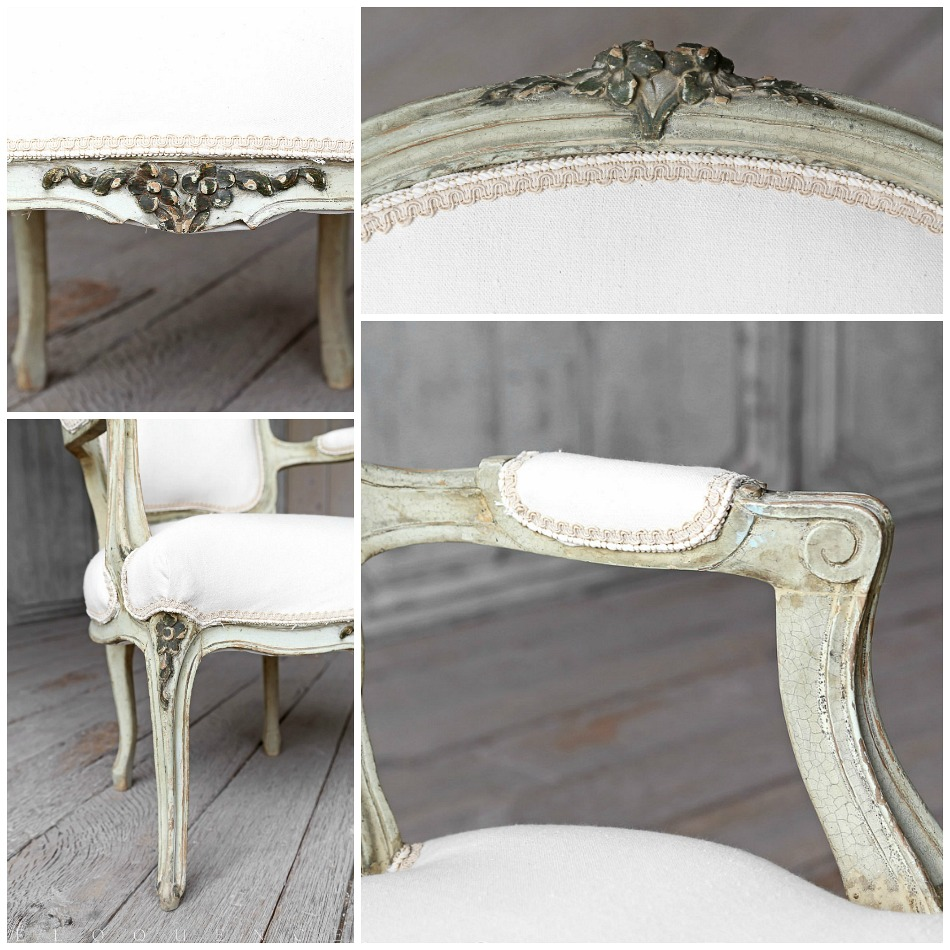 Eloquence One of a Kind Vintage French Country Green Louis XV Style Armchairs