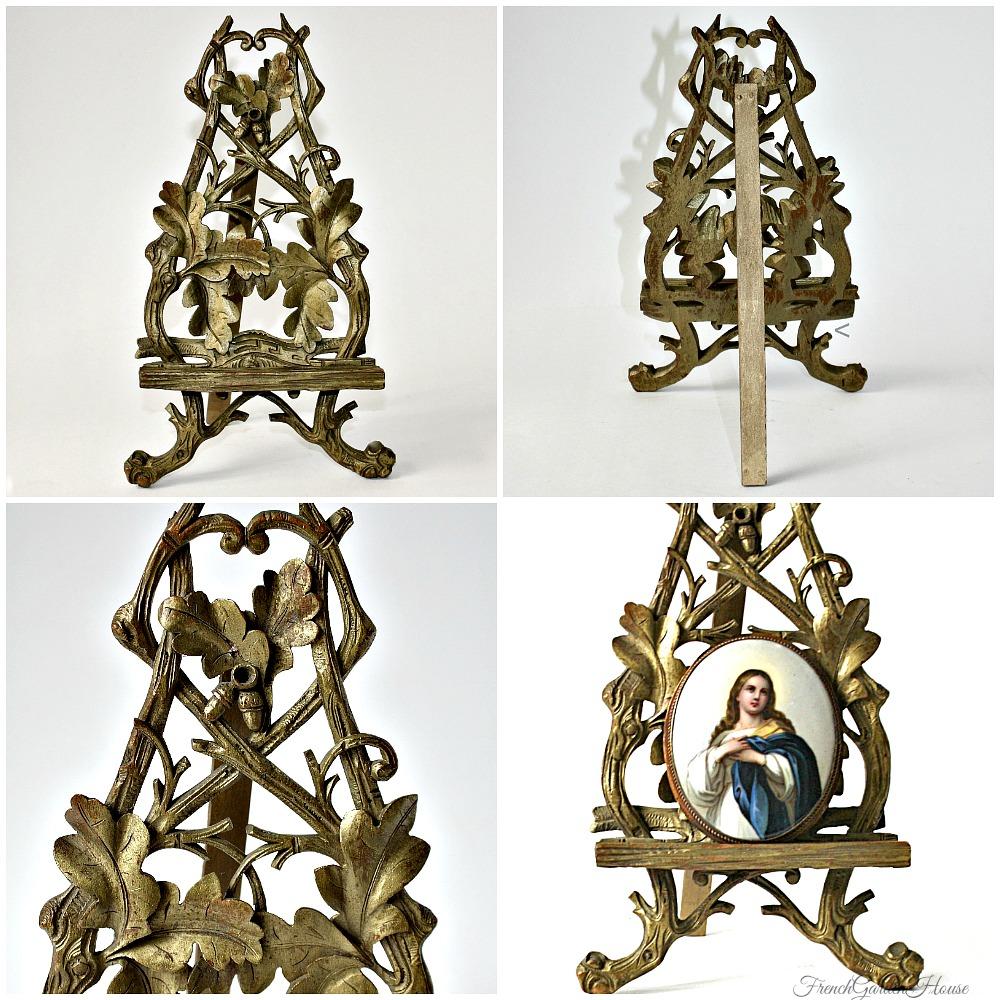 Antique Hand Painted Grand Tour House Altar Virgin Mary Porcelain Gilt