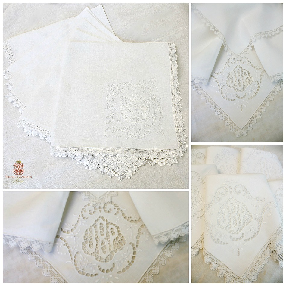 Antique Point de Venise Lace Monogram Napkins Set 6