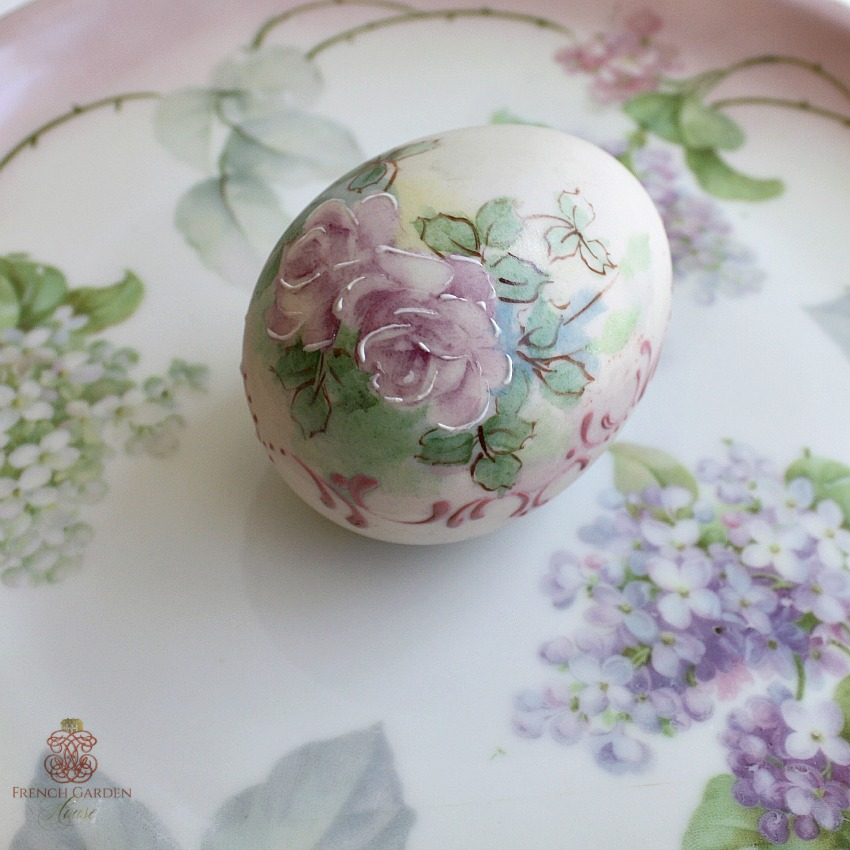 Hand Painted Porcelain Bisque Egg Roses Signed