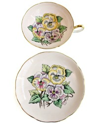 Exquisite Hand Enameled Pansies Tea Cup and Saucer Set English