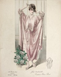 Antique French Hand Colored Fashion Print Pink Poret