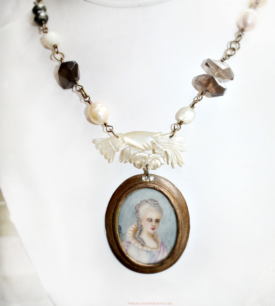 Antique Baroque Pearl Topaz Necklace with Hand Painted Portrait