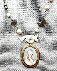 Tara Gasparian Antique Baroque Pearl Topaz Necklace with Hand Painted Portrait