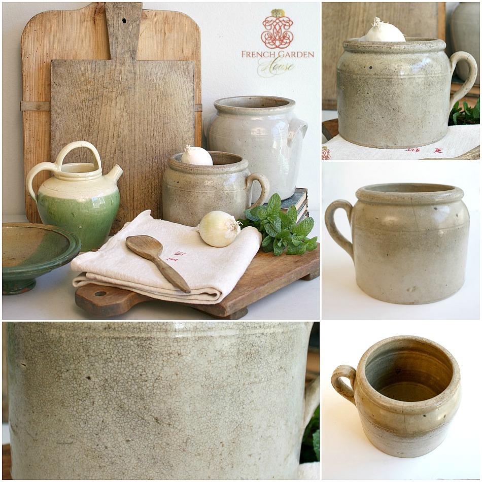 Antique French Pot en Gres Enameled Storage Crock Jar Brittany 4
