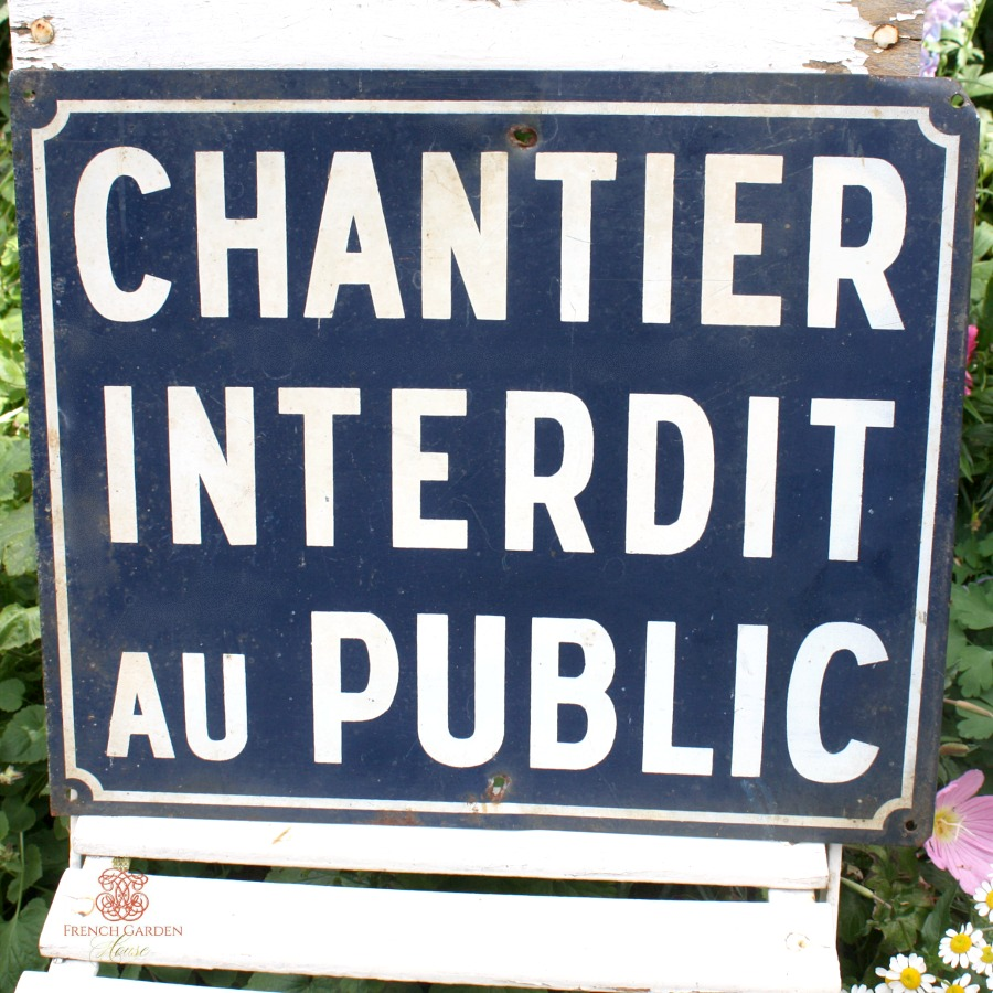 Antique French Blue Metal Private Estate Grounds Sign