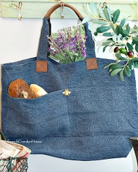 French Country All-day Indigo Blue Linen Market Bag Abeille