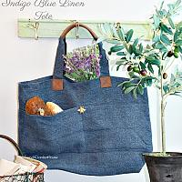 All-day Indigo Blue Linen Tote Bag Abeille