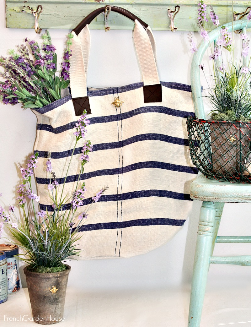 Blue and White Striped Linen Tote Bag Abeille