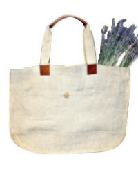Provence Natural Linen Tote Bag with Leather Handles