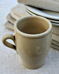French Country Cream Pottery One Handle Cider Cup